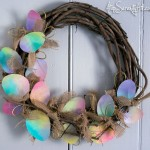Tie-dyed canvas Easter eggs & burlap wreath