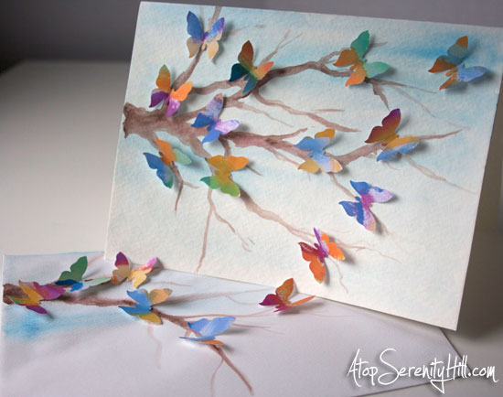 watercolor dimensional butterfly greeting card • AtopSerenityHill.com