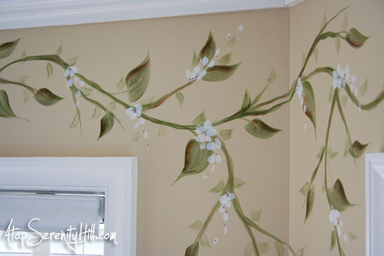 handpainted vine as window valance alternative atop