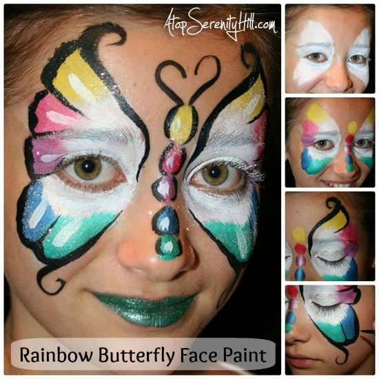 rainbow butterfly face paint tutorial atop serenity hill