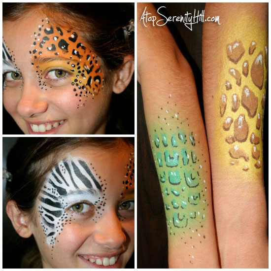 halloween face painting stenciled animal prints atop serenity hill