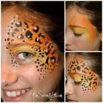 Halloween face painting • stenciled animal prints