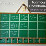 Foamcore chalkboard with Washi tape grid
