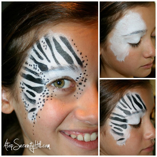 Halloween face painting stenciled animal prints atop for How to apply face paint