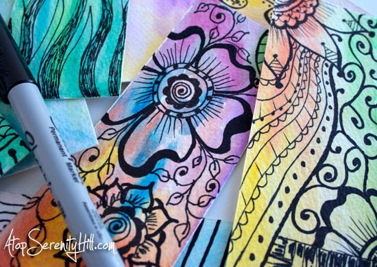 doodledbookmarkswatercolor