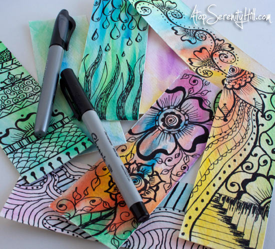 doodledwatercolorbookmarks