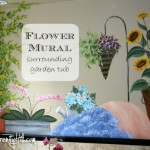 Flower mural around garden tub