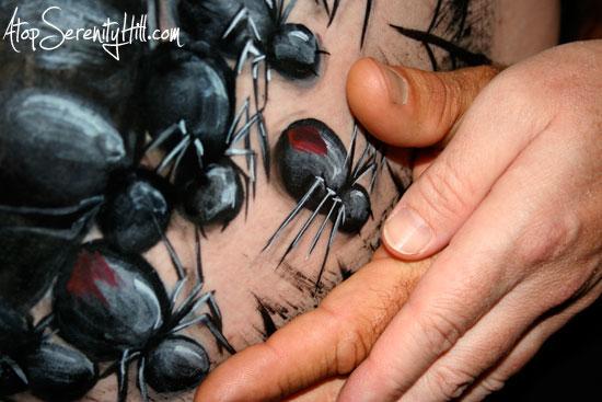 a few black widows  Black Widow Spider Painting