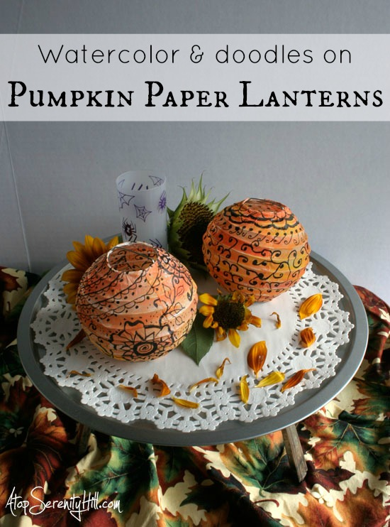 Watercolor And Doodles On Paper Lantern Pumpkins Atop