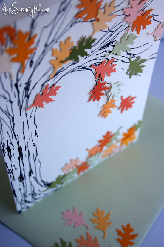 Falling Leaves Greeting Card for Autumn • Atop Serenity Hill