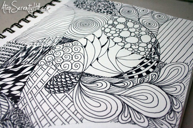 Black and white doodling with Sharpie • AtopSerenityHill.com