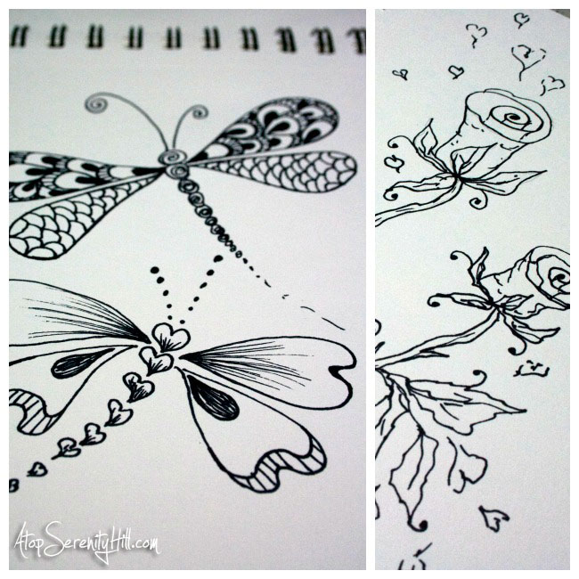 Doodling with Sharpie • Dragonflies and Roses • AtopSerenityHill.com