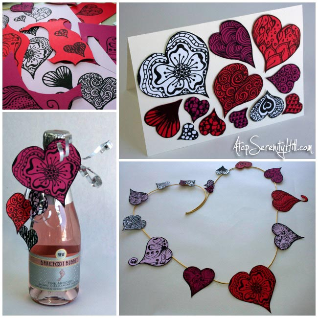 Free doodled heart printable • AtopSerenityHill.com #hearts #doodling #valentinesday