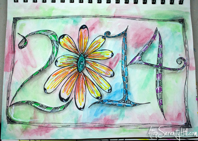 Watercolor and doodles in sketchbook for 2014 • AtopSerenityHill.com