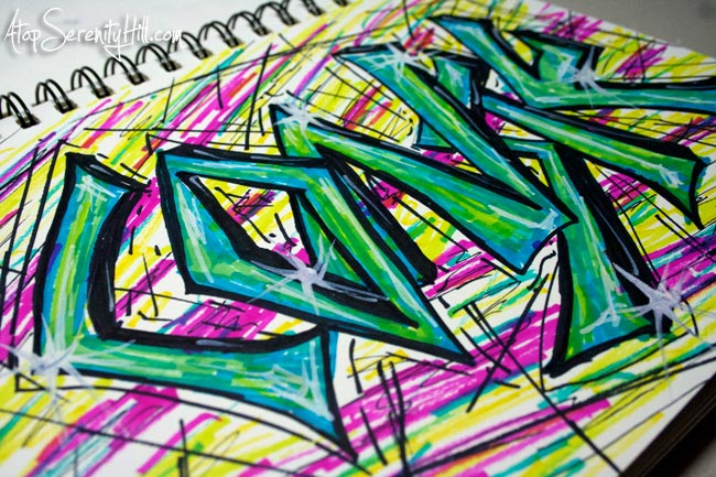 Grafitti name doodling with Sharpies • AtopSerenityHill.com