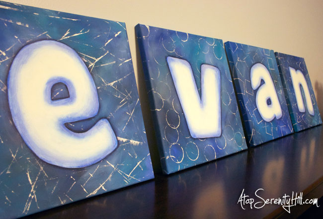 DIY Painted Letters On Canvas U2022 AtopSerenityHill.com #monogram #letters #diy