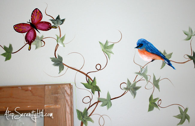 Easily add mural elements to extend a framed painting • AtopSerenityHill.com #bluebird #butterfly