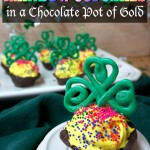 St Patrick's Day cupcakes in chocolate pot of gold