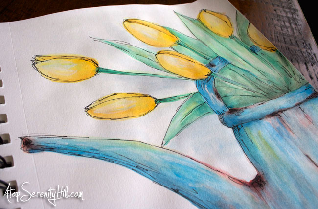 Watercolor and black marker in sketchbook: tulips • AtopSerenityHill.com #doodling #watercolor #flowers