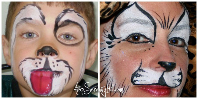 6 popular face painting designs for birthday parties including a puppy and a kitty • AtopSerenityHill.com #butterfly #spiderman #facepainting #birthdayparties