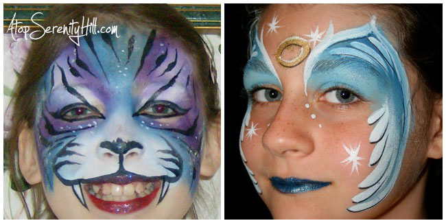 6 popular face painting designs for birthday parties including a tiger and an angel • AtopSerenityHill.com #butterfly #spiderman #facepainting #birthdayparties