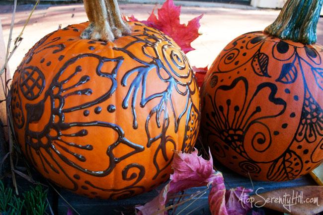 Henna Inspired Doodled Pumpkins  Atop Serenity Hill