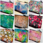 Handpainted zippered pouches are in the Etsy shop!