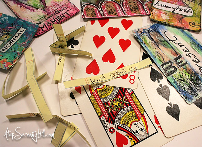 Inspiration card deck made from playing cards using mixed media techniques • AtopSerenityHill.com #mixedmedia #inspiration #playingcards
