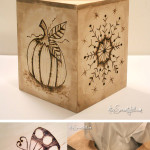 Wood burned tissue box