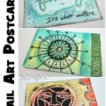 Stenciled mail art postcards