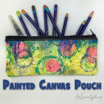 Stenciled & painted canvas pouch