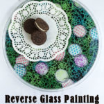 Reverse glass painting with stencils