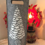 Winter wine bottle gift bag