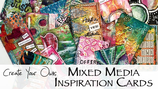 Online painting class to create your own inspiration cards using mixed media techniques from AtopSerenityHill.com • #mixedmedia #inspirationcards #onlineclass