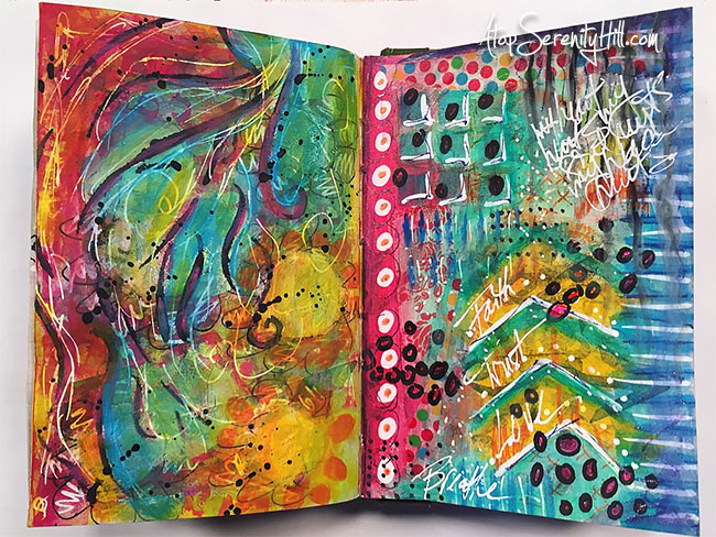 Art journal pages using Rae Missigman's art marks challenge to create mixed media explosions of color! AtopSerenityHill.com