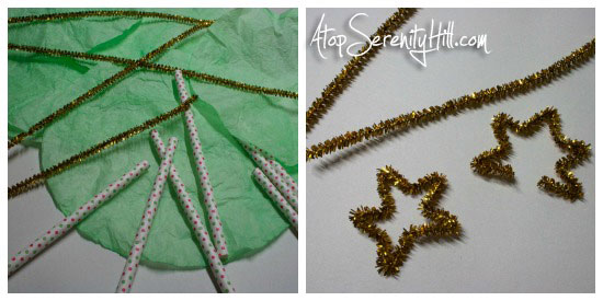 Coffee filter Christmas tree garland • AtopSerenityHill.com